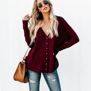 Vici collection burgundy waffle button down